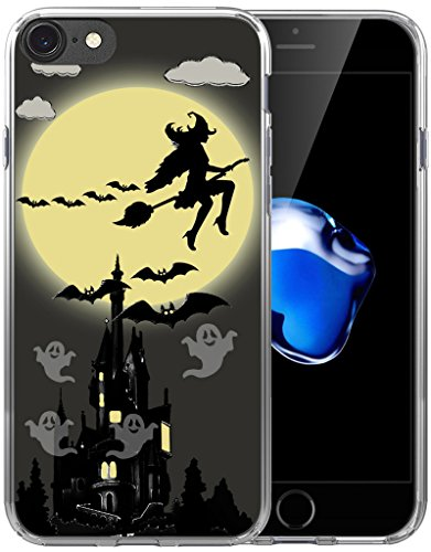 (Case for iPhone 8 Halloween Witch/IWONE Designer Non Slip Rubber Durable Protective Replacement Skin Transparent Cover Shockproof Compatible for iPhone 7/8 Halloween Design Gift Present)