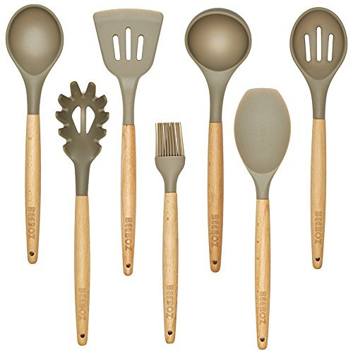 7 Pc. Beech wood and Silicone Kitchen Utensil Set, Grey, Eco-friendly, BPA free, Nonstick by BEEBOZ
