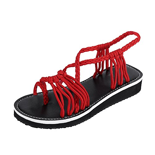 MILIMIEYIK Slippers, Women's Ankle Strap Low Wedge Sandals,Women's Open Toes Gladiator Sandals Ankle Strap Thong Shoes Red ()