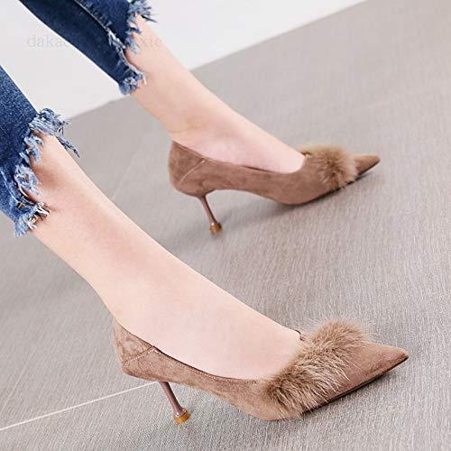 Sexy La Stiletto Boca Puntiagudo Salvaje Femenina Zapatos Corte Cabello Moda Simple Marea De Baja Hrcxue Marrón Morado Solo nEw8qPYP