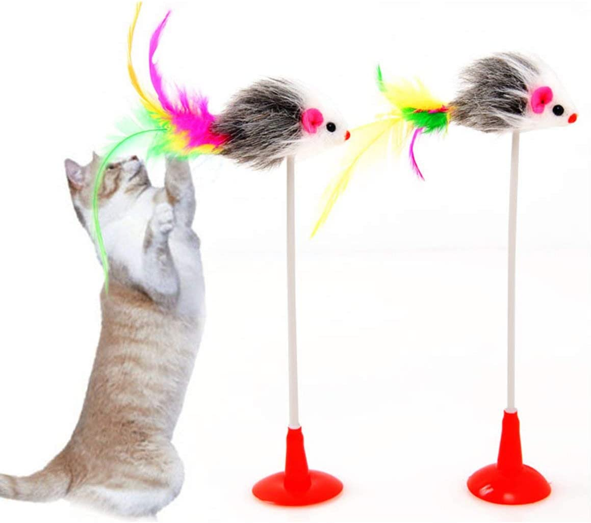 Kongqiabona-UK NEW Vertical Suction Cup Funny Cat Stick Color Feather Mouse Cat Toy Adsorption Smooth Face Funny Cat Stick Pet Feather Toy