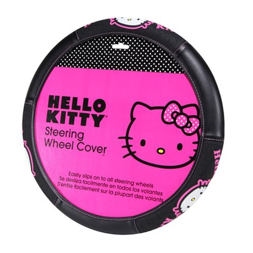 Licensed Universal Fit - Officially Licensed Universal Fit Three Logo Synthetic Leather Steering Wheel Cover - Hello Kitty Collage