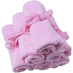 Le Petit Bamboo Baby Washcloths - Softest, Organic Bamboo Cloths Guaranteed Best Wipes - Pink