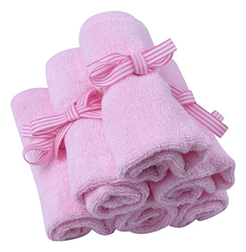 Bamboo Baby Washcloths – Softest, Natural Cloths Perfect for Sensitive Skin – 6 Premium Quality Wash Clothes Guaranteed Best Towels – Pink