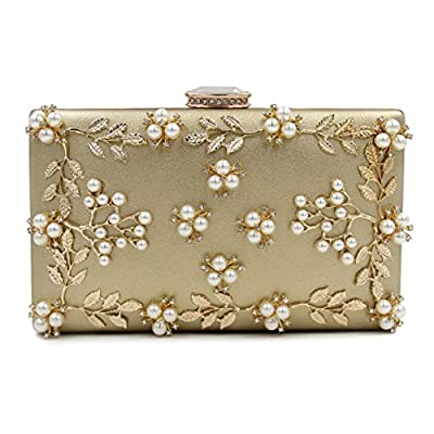 Milisente Pearl Beaded Clutches Purses Bags Flower Wedding Evening Handbag