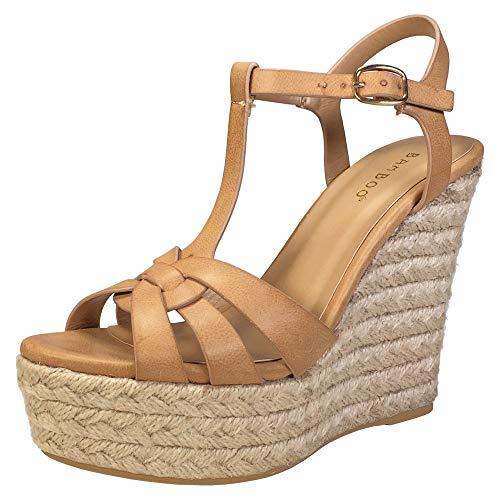 BAMBOO Women's Interwining T-Strap Espadrilles Wedge Platform Sandal, Tan PU, 8.5 B US