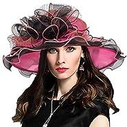 Women Derby Church Dress Fascinator Wide Brim Ruffles Tea Party Wedding Organza Hats S042b