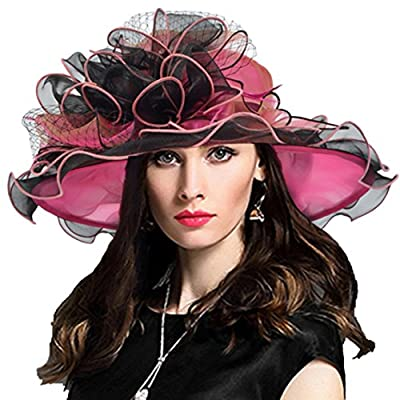 Women Derby Church Dress Fascinator Wide Brim Ruffles Tea Party Wedding Organza Hats S042b