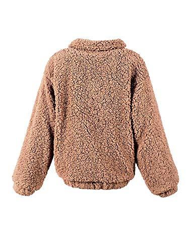 Hiver Manteau Long Zip Chaud Transition Doux Outwear Laineux Cuir Manteau Manche Manteau Manches Caf Femme Uni Confortables Faux De Fille Costume ZwxCrZAgq