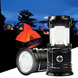 Solar Camping Light and Flashlight, Portable Rechargeable Collapsible LED Lamp Camping Lantern for Outdoor Survival, Tent Light, Backpacking Hiking Fishing Emergency Outages