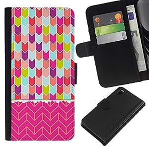 All Phone Most Case / Oferta Especial Cáscara Funda de cuero Monedero Cubierta de proteccion Caso / Wallet Case for Sony Xperia Z3 D6603 // Chevron Art Pink Teal Purple Green