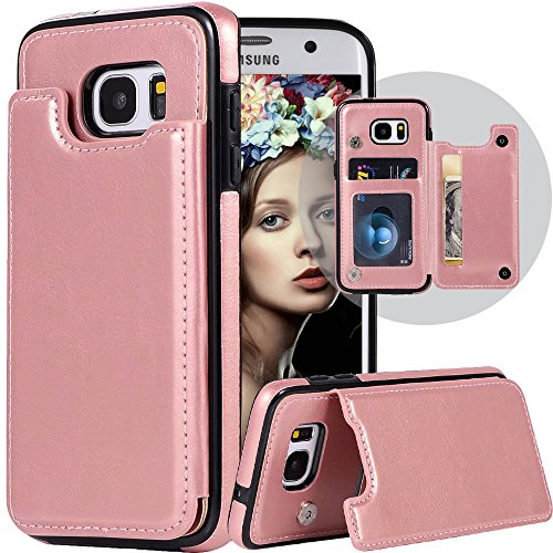 Galaxy S7 Edge Wallet Case,Galaxy S7 Edge Case with Card Holder,Auker Shockproof Vintage Sleek Leather Flip Magnetic Folding Stand Purse Wallet Case for Women/Men for Samsung Galaxy S7Edge (Rosegold)
