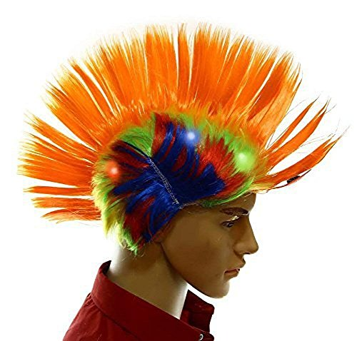 Light-up Blinking LED Party Wig – Rave Halloween Party Costume – (Blinking Led Sports Caps)