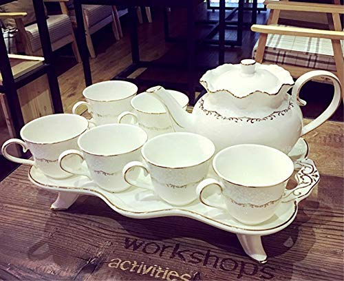 - Coffee Cup Set China Bone-Porcelain Tea Set, Creative Pottery British Afternoon Tea Cup of Tea (1 Tea Pot, 6 Tea Cups, 1 Tea Tray)