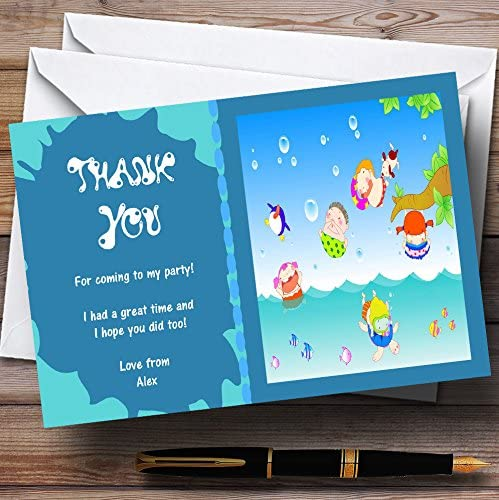 Personalised Boy Swimming Pool Birthday Party Thank You Cards inc envelopes P3