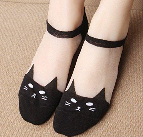 Algodón Skim seda gatos Shallow boca calcetines, blanco negro