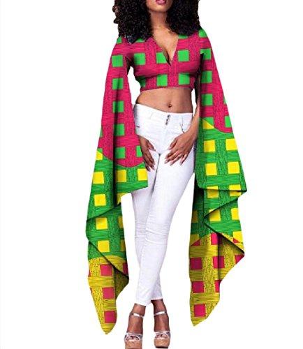 Vska Womens Africa Cotton Batik Dashiki Crop Top Long Sleeve T-shirts 1 M by Vska