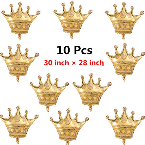 Xinhongo 10 Pcs Large Crown Balloons Golden Metallic Foil Balloons Helium Air balloons for Birthday Party Baby Shower Wedding Decoration Accessories,Approx.30 inch x 28 inch]()