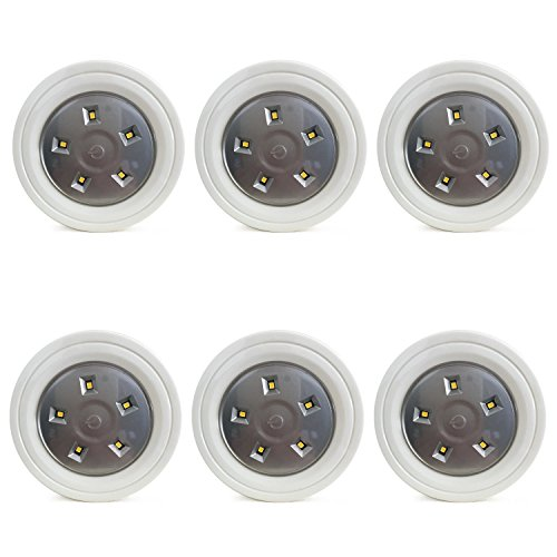 6 LED Puck Lights - Tap On Touch Lights Wireless - Bright 60 lumens! Kitchen Under Cabinet, Closet, Hallway, Above Sink Lights - 5 LEDs on Each Light! 3M Adhesive for Easy On/ Off - Battery (Above Sink Lighting)