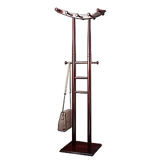 JIAYING Coat Racks Coat Rack Stand,Sturdy Coat Rack Stand ,Save Space Wooden Hanger Standing Entryway Coat Rack Floor Bedroom Hanger Multifunction (Color : Red)