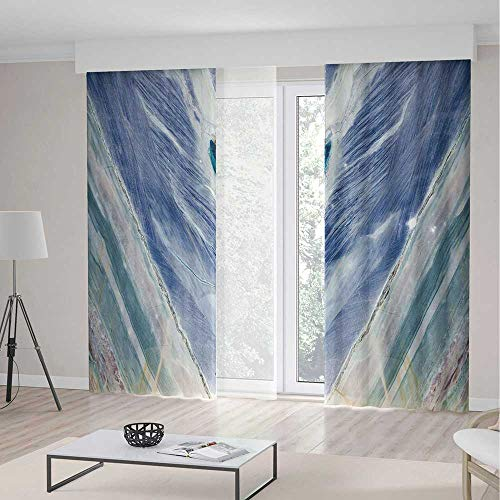 iPrint Marble Decorations Curtains,Onyx Stone Tribal Style Color Elements Agate Authentic Pattern Decorative,Window Drapes 2 Panel Set, Living Room Bedroom,236 W 106 L,Teal Dark Blue Light Grey