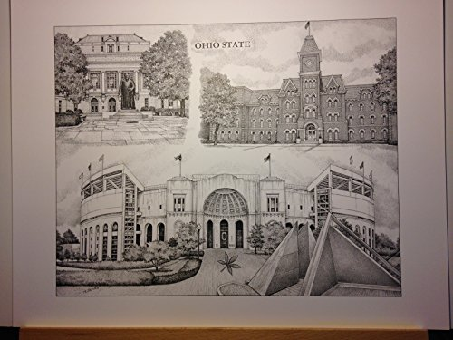 Ohio State University 14''x18'' pen and ink collage print by Campus Scenes