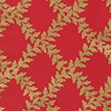 Entertaining with Caspari 9692RC Acanthus Trellis Red/Gold Continuous Roll of Gift Wrapping Paper, 8', 1-Roll, Multicolored