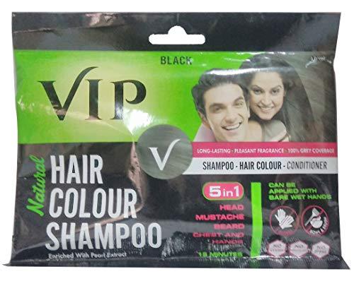 VIP NATURAL HAIR COLOUR SHAMPOO BLACK - 3 IN 1 SHAMPOO HAIR COLOUR CONDITIONER - 40ml