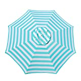 Le Papillon 7 ft Outdoor Patio Beach Umbrella Sun Shelter with Sand Anchor, Light Blue and White Stripe