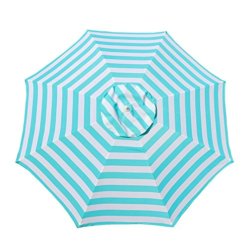 Le Papillon 7 ft Outdoor Patio Beach Umbrella Sun Shelter with Sand Anchor, Light Blue and White Stripe by Le Papillon