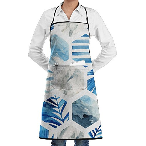 SmallTing Abstract Geometric Seamless Pattern On Light Background Chef Bistros Black One Size Apron With Pockets Adjustable