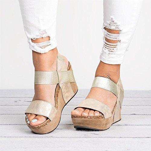 Pu A Retro Talons Boucle Or Peep Talon Été Hauts Romaines Sandals Toe Mode Femme Casual Minetom Compensé Chaussure Sandale 8vAPT