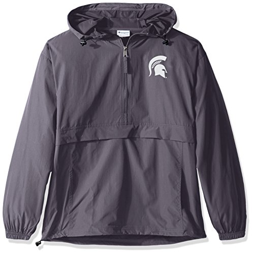 (Champion NCAA Men's Half Zip Front Pocket Packable Jacket Michigan State Spartans Large )