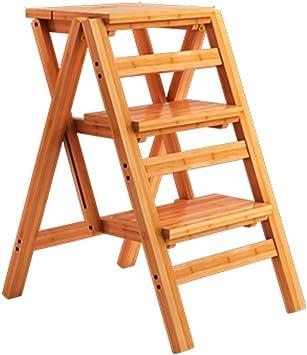KFDQ Inicio Taburetes, taburete Silla de escalera con 3 escalones Silla plegable de madera maciza de moda Escalera multifunción de alta resistencia para el jardín del hogar Biblioteca Biblioteca Coci: Amazon.es: Bricolaje