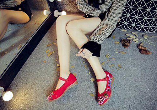 Lazutom Women Lady Vintage Chinese Style Embroidery Casual Walking Party Mary Janes Shoes Red 26Ru8L