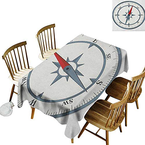 DONEECKL Compass Oil-Proof Tablecloth Seamless Design Minimalist Design Compass with Windrose Finding Your Way on The Sea Navigation Slate Blue Red W60 xL120 ()