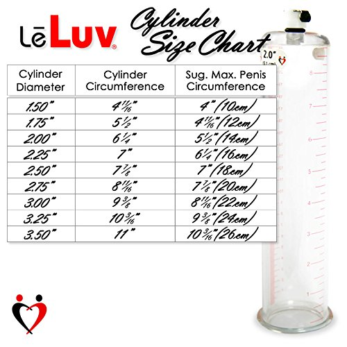 LeLuv Vacuum Cylinder for Penis Pumps Seamless Untapered Medical-Grade Clear Acrylic with Measurement Marks and Locking Fitting 1.50 Inch x 9 Inch by LeLuv (Image #1)