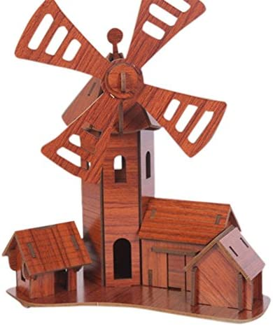 Buy Disiani Solar Power Energy 3d Windmill Wooden Puzzle Toy Red