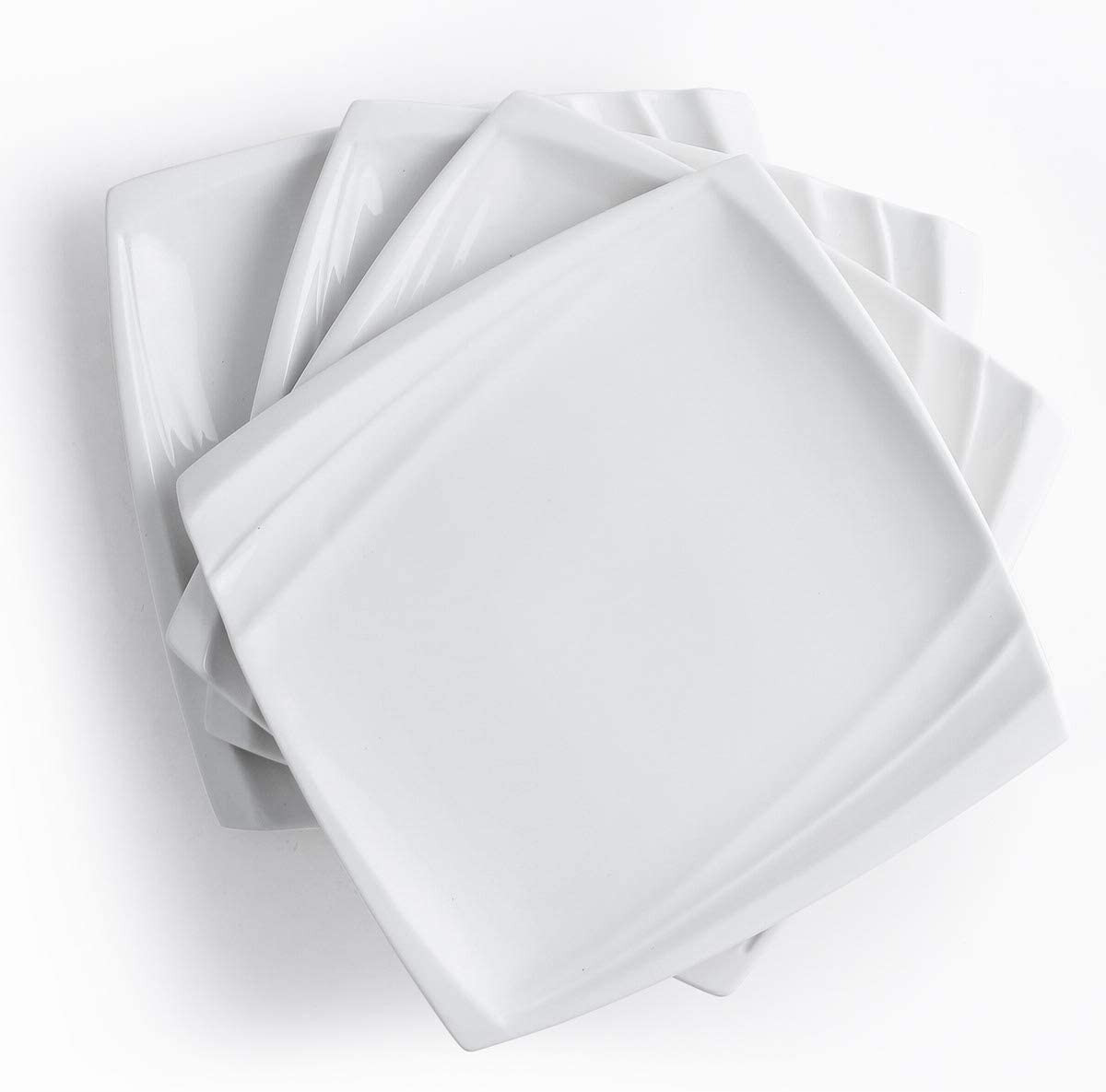 10 Inch Square Dinner Plates White Set of 4 Modern Lunch Serving Plate Xufeng (Wave Design)