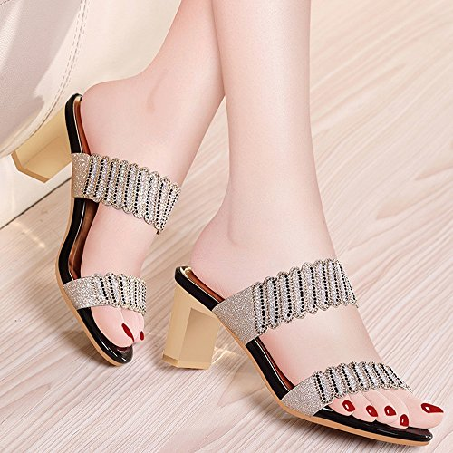 Toe 7cm Eu39 Scarpe Nero Strass Open Pantofole colore Romano Nero Da Donna Estate cn40 Dimensioni Sandali Spiaggia uk6 Moda Zhirong Tacco Alto 5 8w66Uq