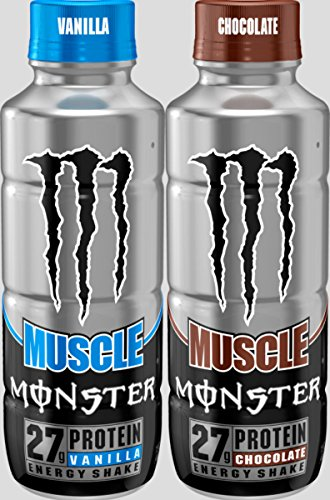 Monster Muscle Protein Energy Shake 12   15Oz Bottles  2 Flaver Combo