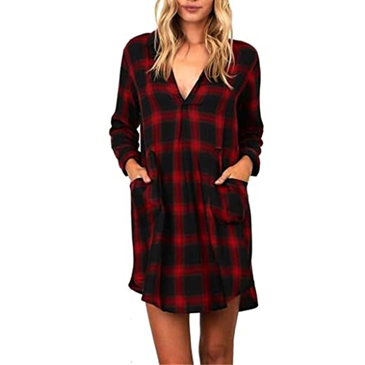 Women S Roll Up Plaid Tunic Blouse Tops V Neck 3 4 Sleeve Casual