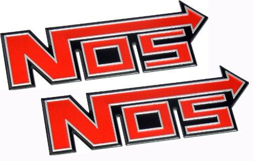 2 x (pair/set) Nitrous Oxide NOS System Aluminum Badge Emblems Boost JDM