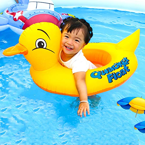 Sealive Inflatable Duck Baby Floats, Cool Squawking Baby Inflatable Pool Float, Kids Summer Swim Ring, Safe Seat Boat for Age 1-3 Years