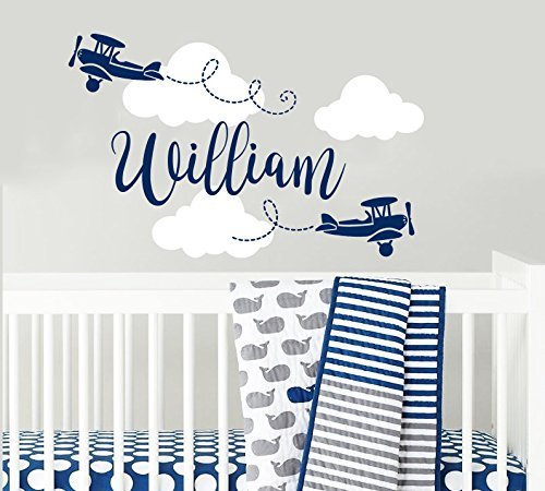 Personalized Boys Name Wall Decal Airplane Clouds Wall Sticker Nursery Vinyl Biplane Baby Boy Nursery Decor Plane Name Children Nursery Wall Decal F28 by NurseryDecalsStore