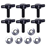 Yesccom set of 6 Thumb Screws with Rubber Backed Washers Hard Top Removal for Jeep Wrangler JK 2007 Thru 2015 Models