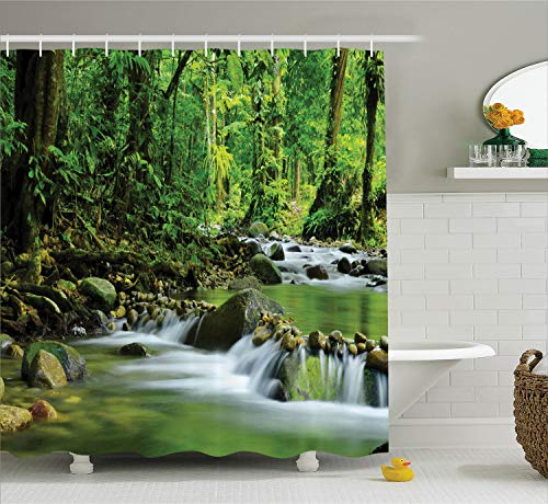 Ambesonne Rainforest Decorations Shower Curtain Set, Mountain Stream in A Tropical Rain Forest Foliage Countryside Wilderness Scene, Bathroom Accessories, 75 Inches Long, Brown Green