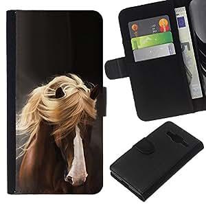 KingStore / Leather Etui en cuir / Samsung Galaxy Core Prime / Golden Hair Brown Pet Gris