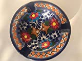 Talavera Ceramic Ashtray 4 1/2'' Modern Art Design Authentic Puebla Mexico Pottery Hand Painted Design Vivid Colorful Art Decor Signed [Brown Flowers]