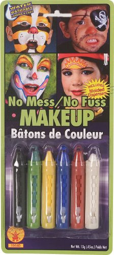Rubies No-Mess Make Up Crayons, 6-Color - No Face Costume Face Paint